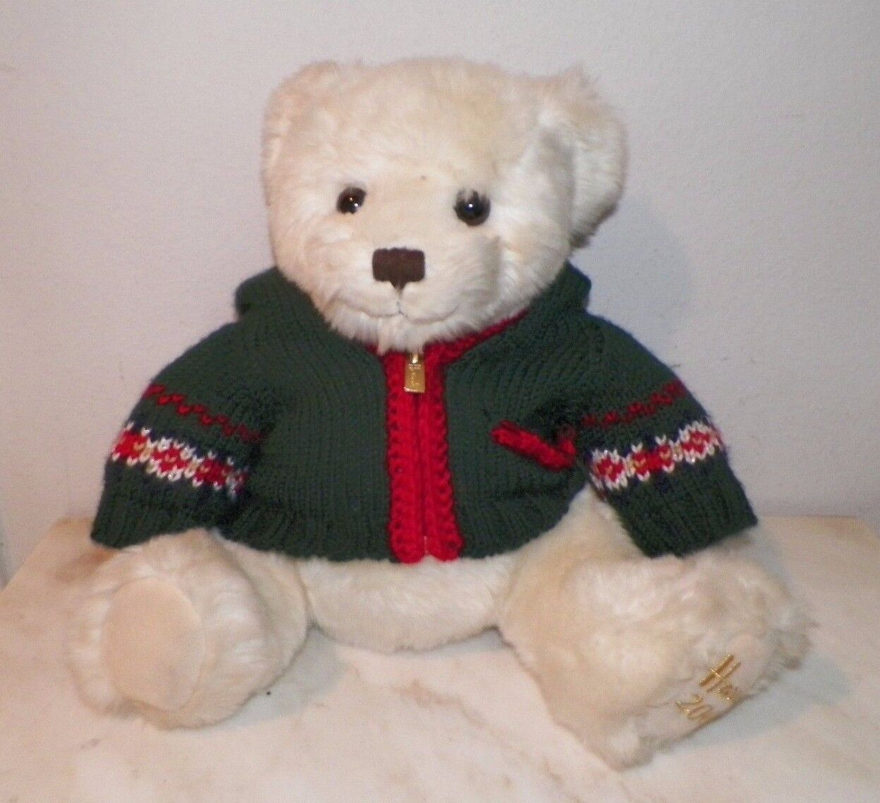 HARRODS bianca  CHRISTMAS BEAR DRESSED STUFFED PLUSH 13  JOINTED 2006
