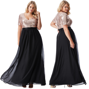 PLUS SIZE SEQUIN AND CHIFFON SHORT GODDIVA SLEEVE V NECK MAX BALLGOWN