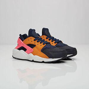 low priced e5c86 47b09 Image is loading Nike-Air-HUARACHE-RUN-PREMIUM-Trainers-Obsidian-Black-