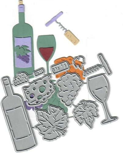 Dies...to die for metal cutting craft die Wine set bottle cheese glass grapes