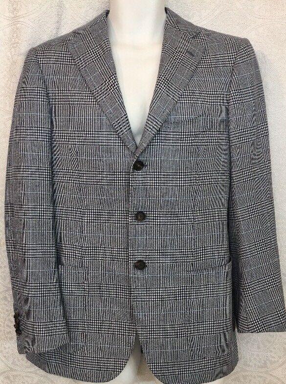Cesare Attolini Jacket Navy And Weiß Stitched Trim Three Button Größe 39-40