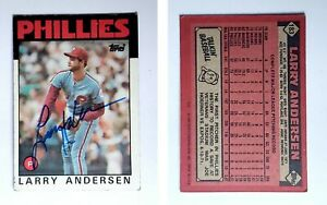 Larry-Andersen-Signed-1986-Topps-183-Card-Philadelphia-Phillies-Auto-Autograph