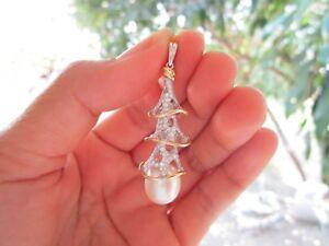 1.02 Carat Diamond Twotone Gold Pendant w/ Pearl 18k codePx17 sepvergara