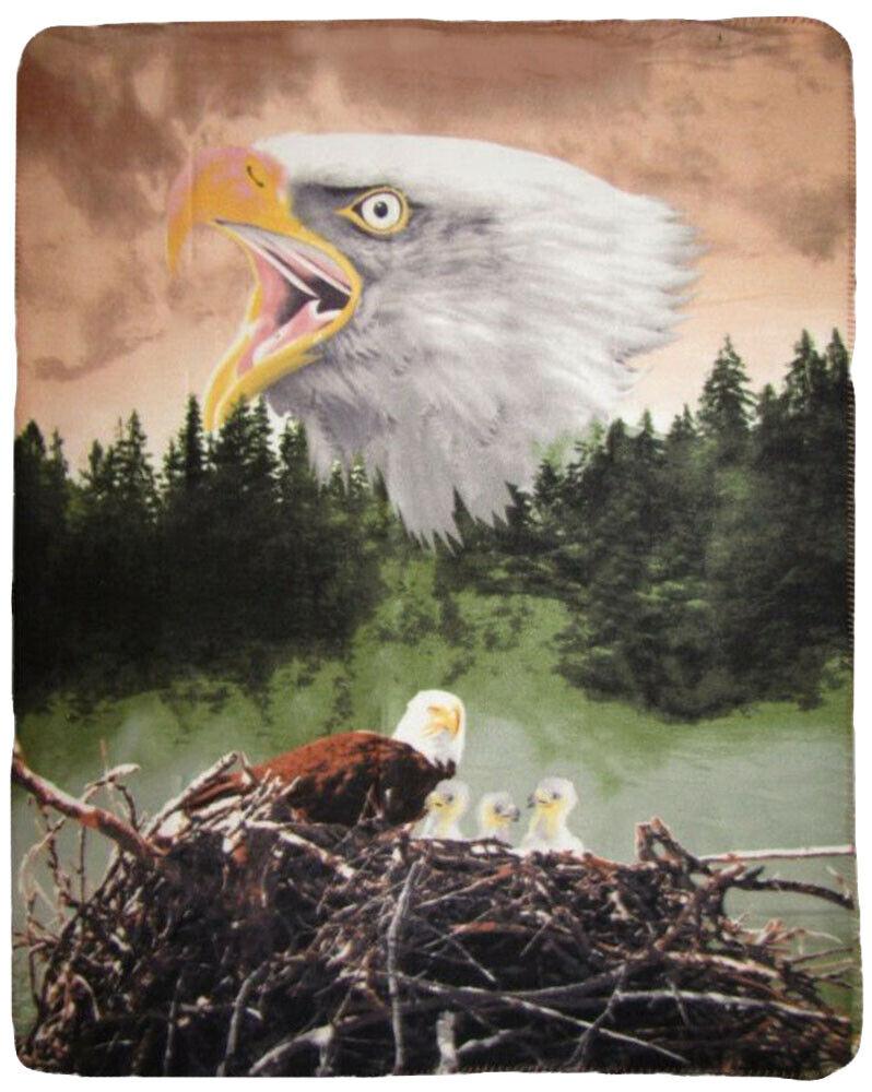 Amerikanischer Bald Adler Nest Wald Natur 127cmx152cm Polar Fleece Tagesdecke (