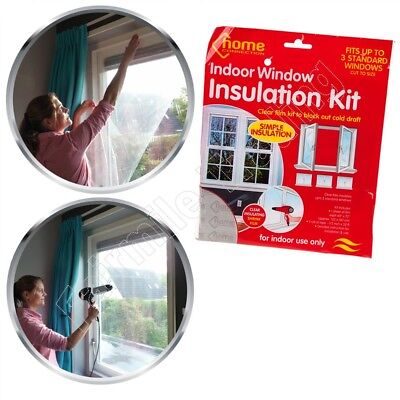 Window Insulation Kit Clear Shrink Fit Double Glazing Film Draught Excluder Cold Ebay