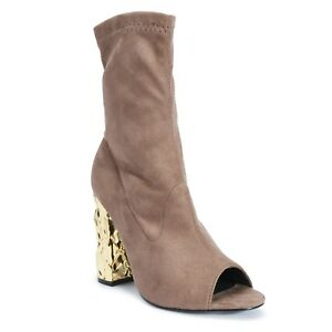 LADIES-PEEP-TOE-TAUPE-SUEDE-ANKLE-HIGH-HEEL-ZIP-UP-BOOTS-SIZES-3-8-LUXURY3