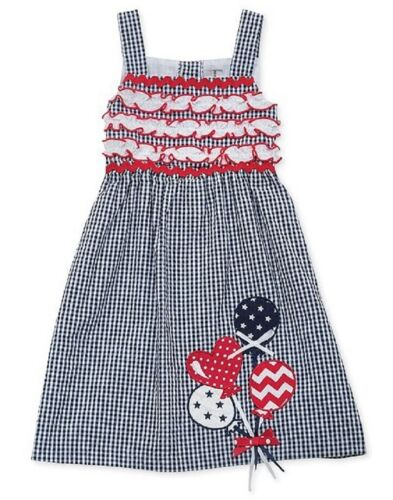 4th of July! Rare Editions Red White and Blue Seersucker Balloon Dress