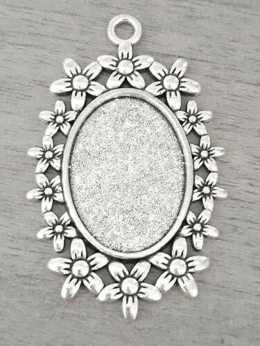 4 Blank Cabochon Pendentif Lunette Réglage Argent Antique Base 18 x 25 mm OVALE Daisy,