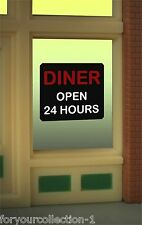 Miller's Diner Open 24 Hours Animated Neon Window Sign   #8965 O/ HO scale