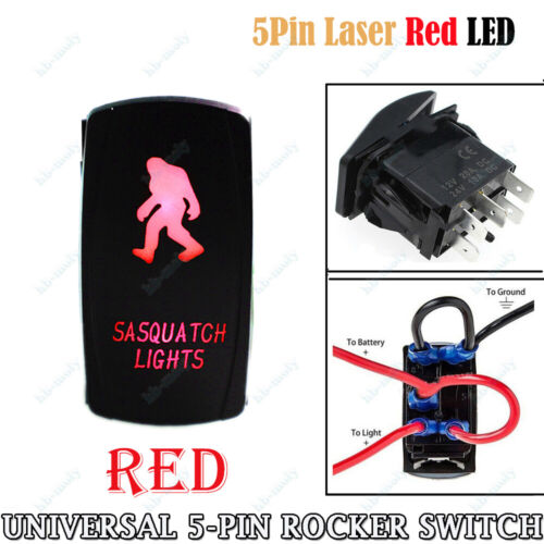 "5-Pin Boat Car Marine Dash Rocker Switch LED ON-OFF Light With""SASQUATCH LIGHTS"""