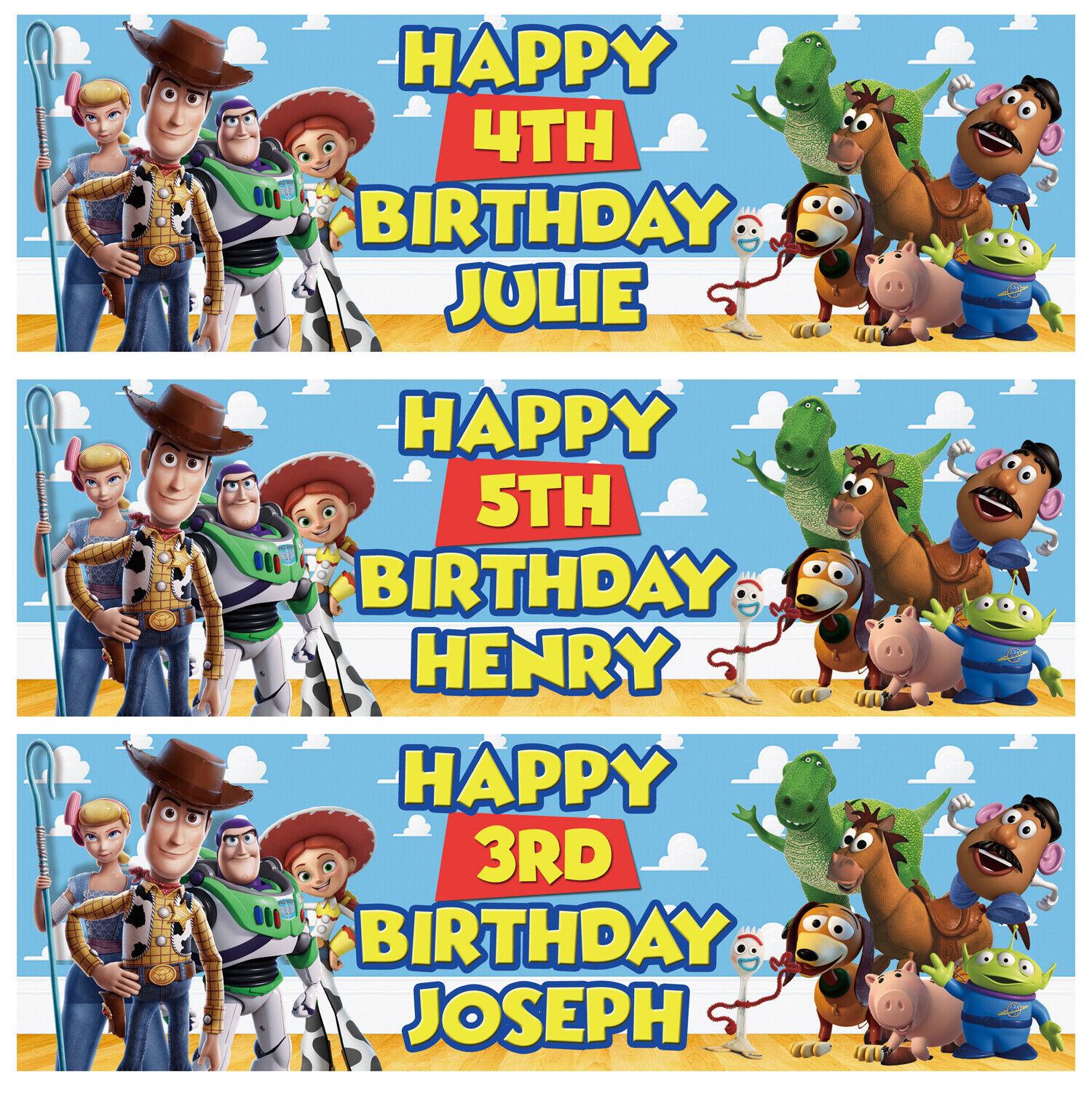 X2 Personnalisé Anniversaire Bannière Toy Story Enfants Fête Décoration Poster 4