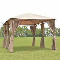 Outdoor 10'x13' Gazebo Canopy Tent Shelter Awning Steel Frame W/walls Brown