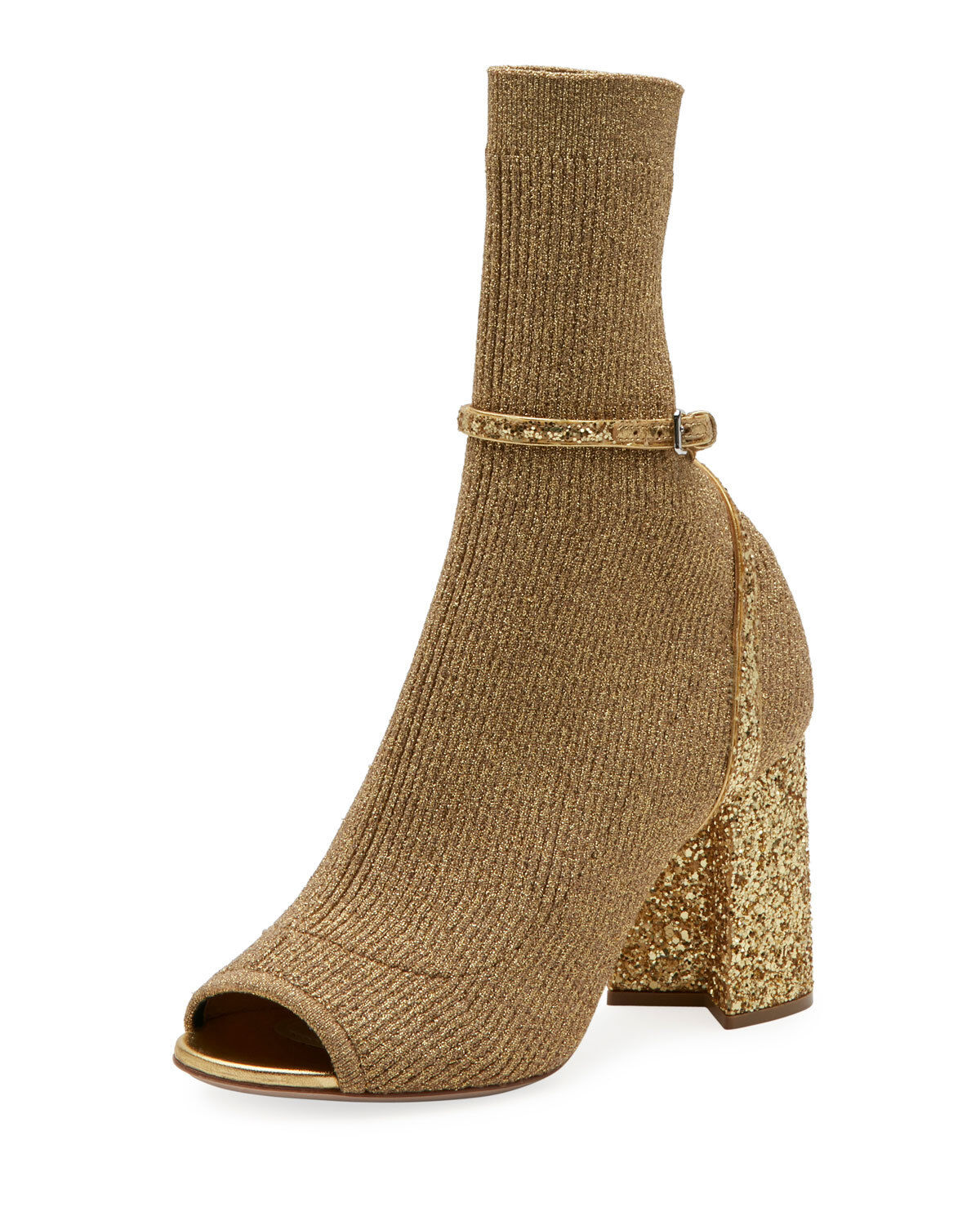 NEW  990 Miu Miu by Prada Stretch Sock Ankle Booties Open Toe gold 36.5   6.5 US