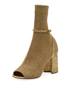 d6f5a5ad3e8f NEW  990 Miu Miu by Prada Stretch Sock Ankle Booties Open Toe Gold ...