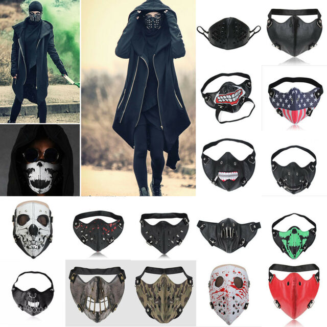 Punk Face Mask Steampunk Leather Skull Skeleton Props Ski Mask Rock Cosplay
