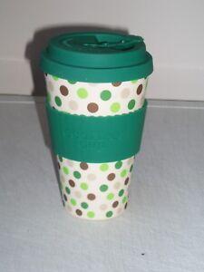 Eco Friendly Organic Bamboo Ecoffee Voyage Tasse 14 oz (environ 396.89 g) vert pois  </span>