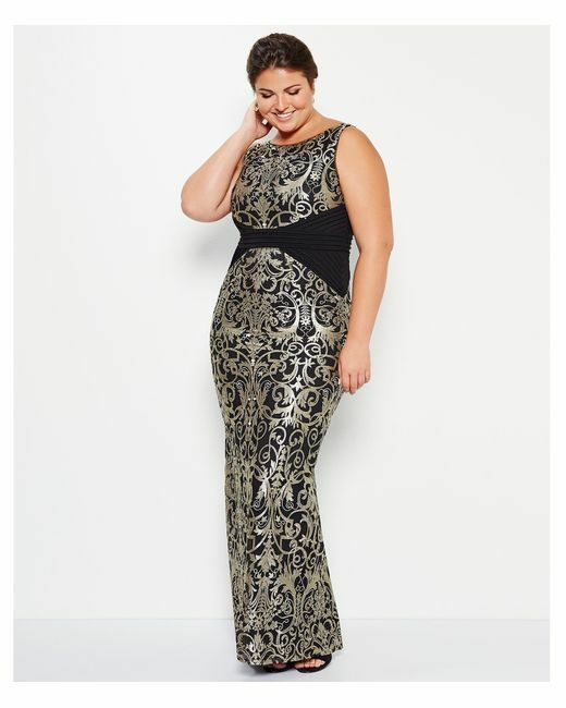 Adrianna Papell Metallic Lace X-Seam Sleeveless Gown (Size 14W)