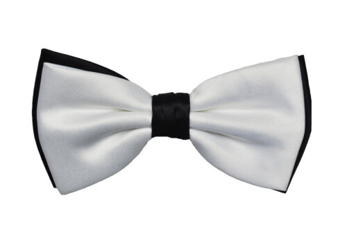 Men/'s White on Black Satin Bow Tie Pretied Party Formal  Bowtie Adjustable