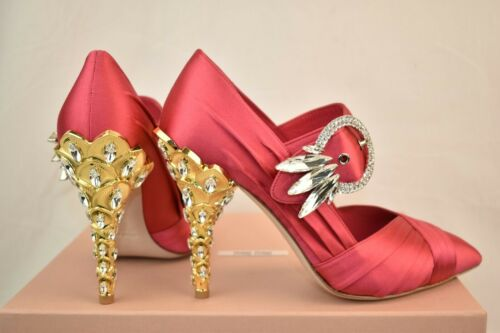 Neu in Box Miu Peonia Satin Jeweled Kristalle Schnalle Mary Jane Pumps 36.5