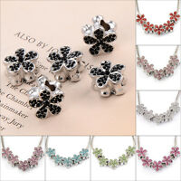 New Silver Plated butterfly CZ beads European charms Fit bracelet 10pcs