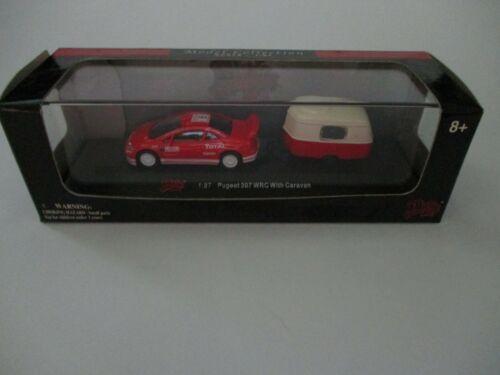 Case NIB Details about  /Malibu International Pugeot 307 WRC with Caravan RED 1:87 HO Scale