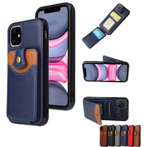 Leather Phone Case Cover With Card Pockets For iPhone 11 12 Pro Max XS X SE 2020