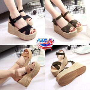 US-Womens-Platform-Sandals-Espadrille-Ankle-Strap-Wedge-Summer-Shoes-Sizes-5-7-5