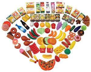120 Piece Pretend Play Toy Food Set Kids Childrens Creative Plastic Educational Ebay