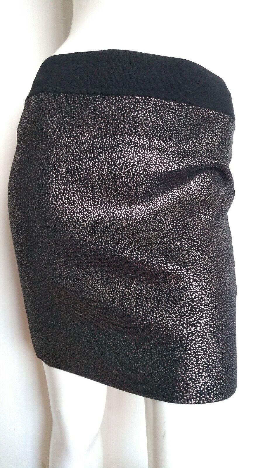 Designer REISS Georgie knitted mettuttiic skirt Größe XS --BRe neu-- schwarz Gold