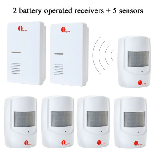 1byone 328ft 36 Chimes Wireless Doorbell Monitor Sensor Driveway Detector