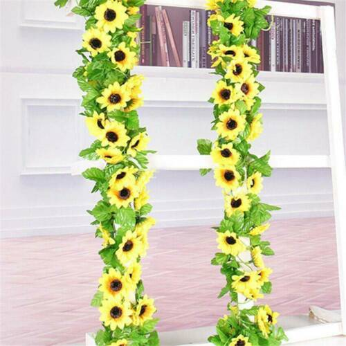 3D Artificial Yellow Sunflower Silk Garland Vine Wedding Party Decor Accessories