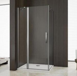 90 x 80 cm Duschkabine Eckeinstieg Duschabtrennung Dusche Duschwand Echtglas 195