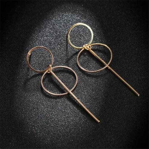 Women Simple Elegant Double Hollow Circle Bar Fashion Hoop Earrings Jewelry ONE