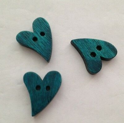 20 X 20mm Blue Heart Shaped Wooden Buttons Australian Supplier Ebay