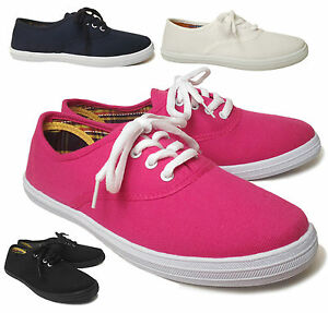 NEW-Women-039-s-Casual-Lace-Up-Canvas-Tennis-Shoe-Comfort-Low-Top-Sneaker-Size-5-6