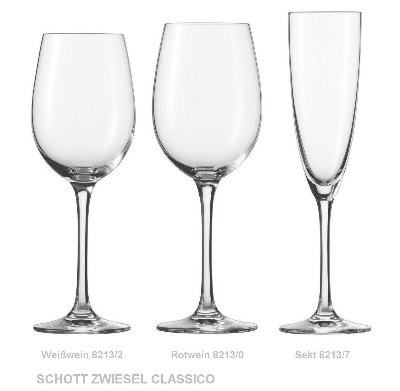 18 Weingläser SCHOTT ZWIESEL je 6 ROTWEIN- WEISSWEIN- + Sekt-Glas CLASSICO  8213