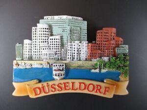 Duesseldorf-Hafenansicht-Germany-Souvenir-Magnet-Polyresin-Deutschland-Neu