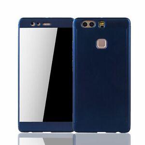 Huawei P9 Plus Handy-Hülle Schutz-Case Full-Cover Panzer Schutz Glas Blau