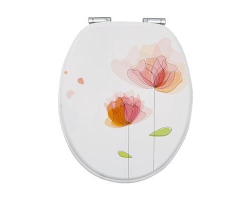 WC-Sitz Dekor Flora Rot mit Soft-Schließ-Komfort     | Helle Farben