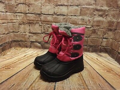 Girls Crane Pink Textile & Rubber Lace Up Low Heel Winter Boots Size UK 11