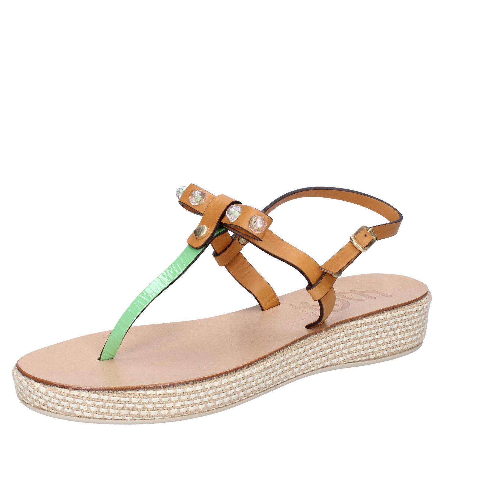 Scarpe donna EDDY DANIELE 37 EU sandali AX772-37 marrone verde pelle vernice AX772-37 sandali b555c6
