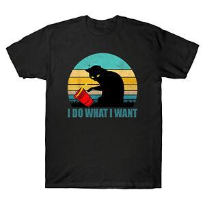 Je-fais-ce-que-je-veux-Chats-Amoureux-Retro-Vintage-Men-039-s-T-Shirt-a-manches-courtes-en-coton-tee