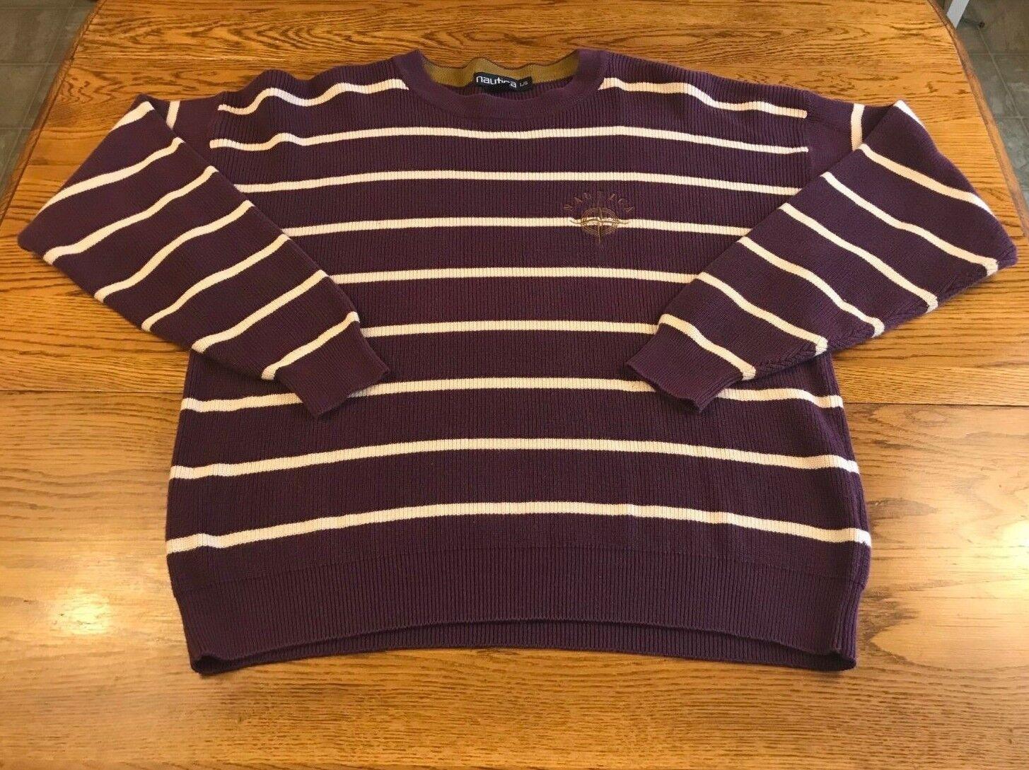 Vintage Nautica Cotton Sweater Purple White Stripe Adult L Large