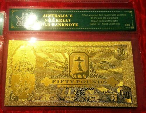 NED KELLY AUSTRALIA  £50  BANKNOTE POUND SET 24K GOLD £ BANK NOTE RARE