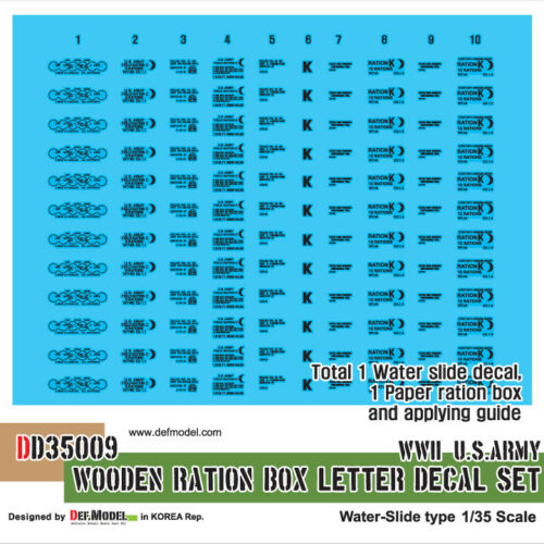 WWII US en bois RATION Box lettre Decal Set DD35009 DEF 1:35 Model