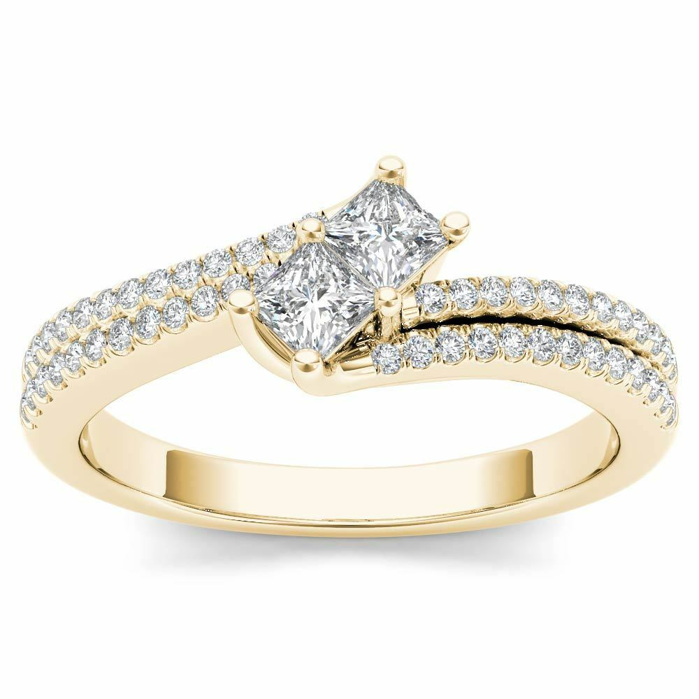 14K Yellow gold 0.50 Ct Princess Diamond Two Stone Engagement Ring