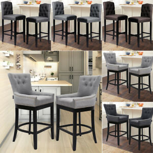Image Is Loading Grey Linen Fabric Breakfast Counter Chairs Bar Stools