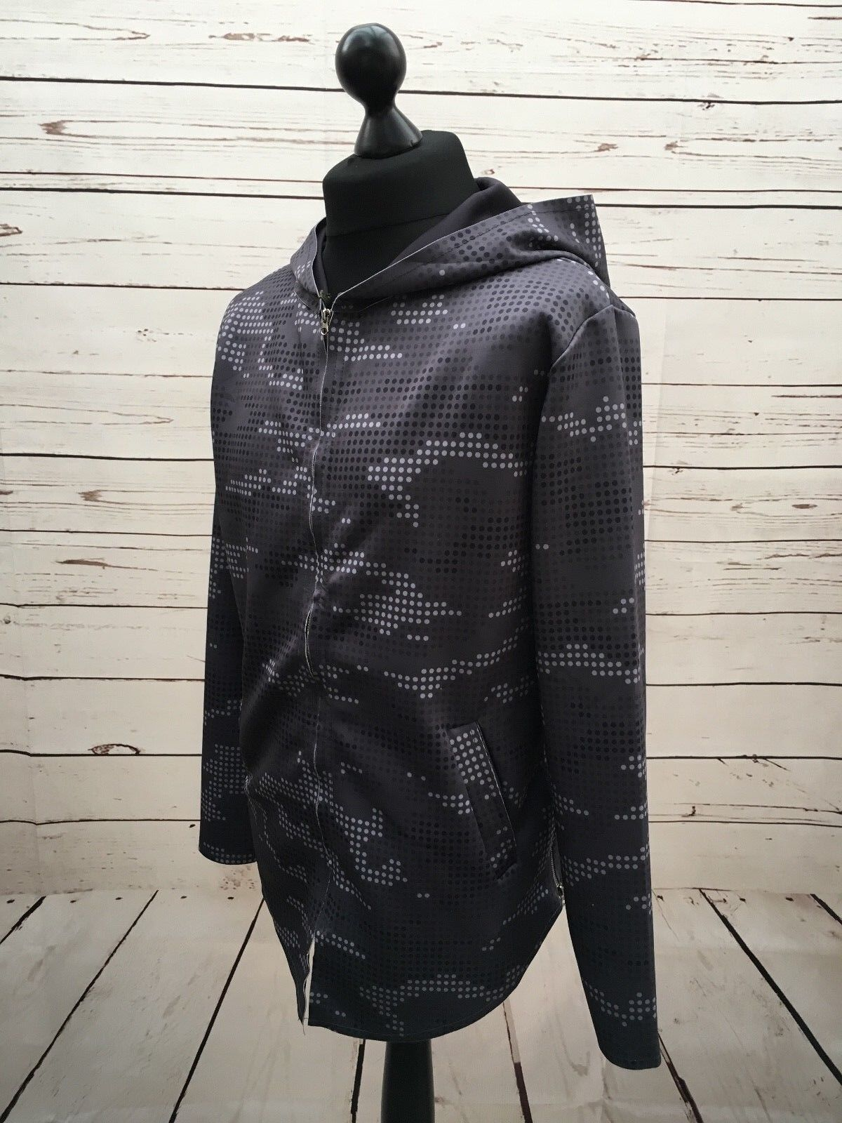 CATCH MENS GREY CHARCOAL SPOTTED SCUBA HOODIE SIZE XL