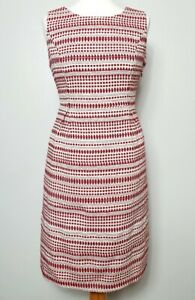 MONSOON-UK-Size-14-Textured-Pencil-Dress-Cream-Red-Ikat-Aztec-Pockets-Summer