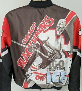 VTG-90-039-s-Rare-NHL-Chicago-Blackhawks-Chalkline-Jacket-Coat-M-L-USA-Hockey-Read